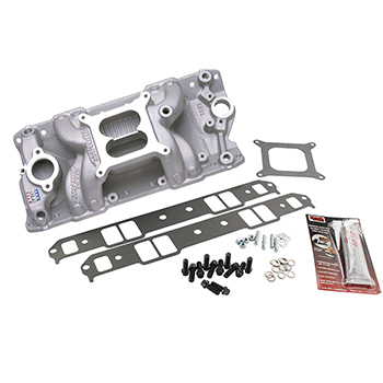 Edelbrock, RPM Air Gap Intake Manifold Kit, Chev SB, Natural Finish, 1500-6500 RPM