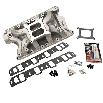 Edelbrock, RPM Air Gap Intake Manifold Kit, Ford SB 351W, Natural Finish, 1500-6500 RPM
