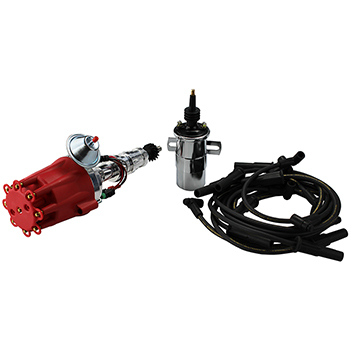 Power Products, Power Plus Billet Ready-to-Run Ignition Kit, Ford FE 332-428, Red Cap