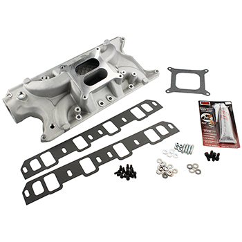 Power Products Dual Plane Intake Manifold, Ford 289-302, Satin Finish, 1000-6000 RPM