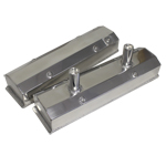 Fabricated Aluminum Circle Track Valve Covers, Chev SB, Tall w/Baffled Tubes, Polished, Pair