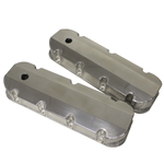 Fabricated Aluminum Valve Covers, Chev BB, Short-Bolt Design, Tall w/Breather Hole, Polished, Pair