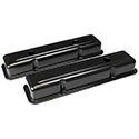 Power Products Satin Black Steel Valve Covers, Chev SB, Short, w/ Baffles